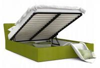 Luxusná manželská posteľ VEGAS zelená 180x200 semiš s kovovým roštom