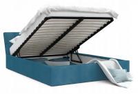 Luxusná manželská posteľ VEGAS tyrkysová 160x200 semiš s kovovým roštom