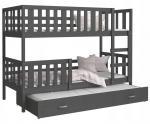 Detská poschodová posteľ NEMO 3 200x90 cm SIVÁ