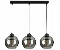 Sklenený stropný závesný luster tvar guľa LED sivá