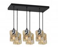 Skleněný závěsný lustr LED Plafon s obdélnikovou kontrukcí zlatá