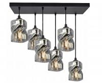 Skleněný závěsný lustr LED Plafon s obdélnikovou kontrukcí šedá