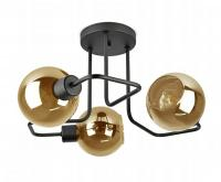 Stropní světlo Plafon 3 ramenné ve tvaru koule zlatá