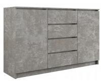 Komoda 2D4S 140 cm sivá Beton